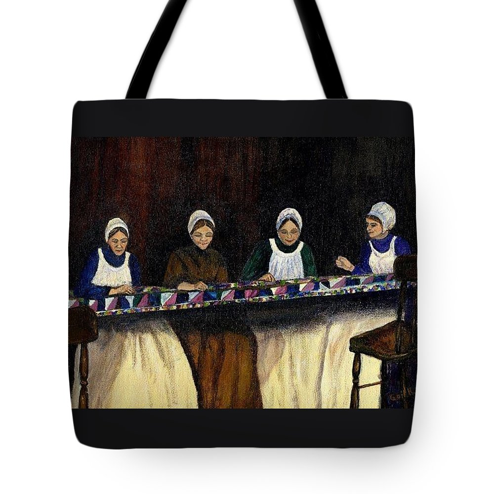 Women Tote Bag featuring the painting Quilting by Gail Kirtz