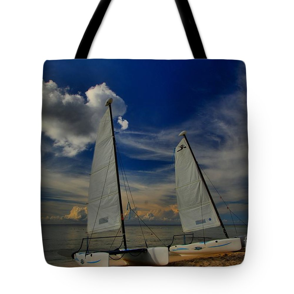 Caribbean Ocean Tote Bag featuring the photograph Quintana Roo Hobie Cats by Adam Jewell