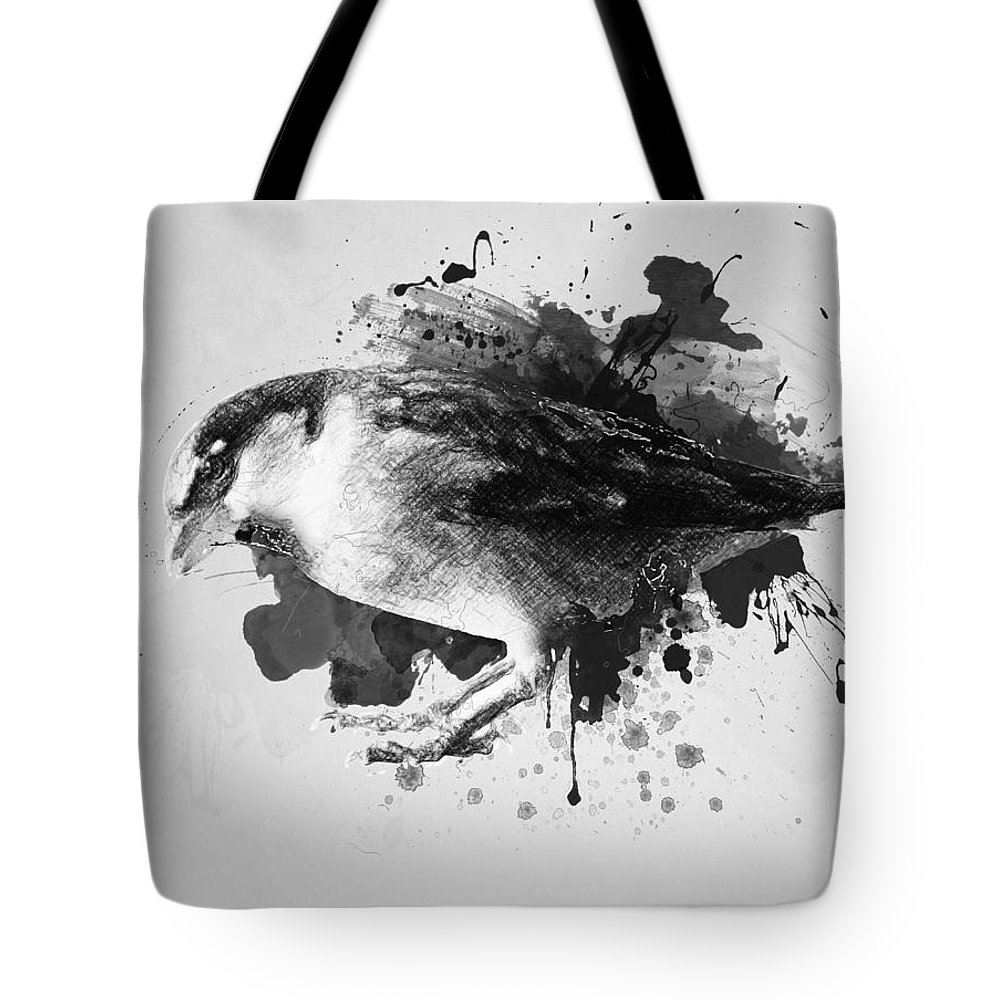 Bird Tote Bag featuring the drawing Qush by Zapista