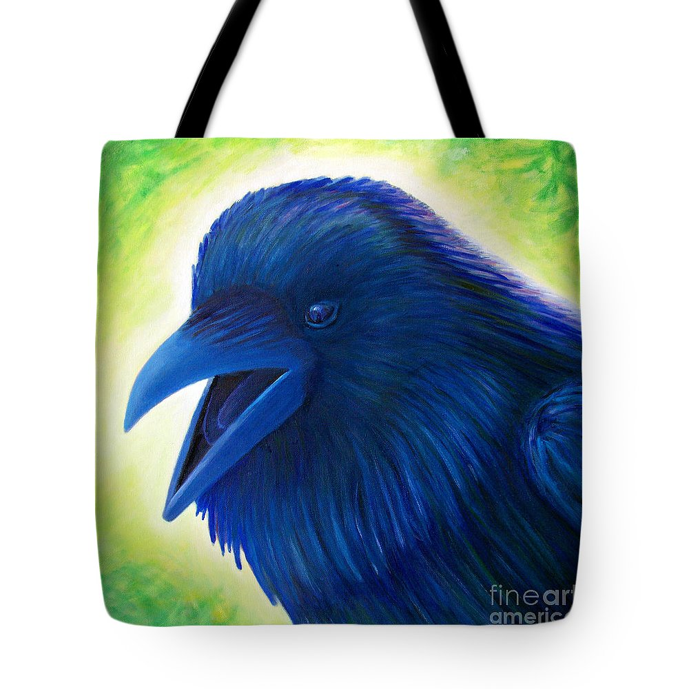 Raven Tote Bag featuring the painting Raaawk by Brian Commerford