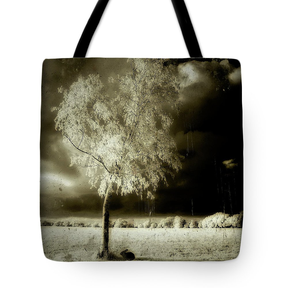 Infrared Tote Bag featuring the photograph Rabbit In The Distant Shadows by Gothicrow Images