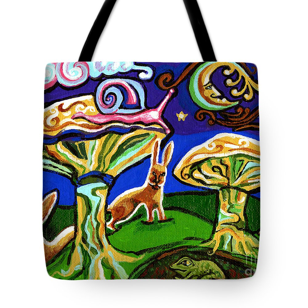 Rabbit Tote Bag featuring the painting Rabbits At Night by Genevieve Esson