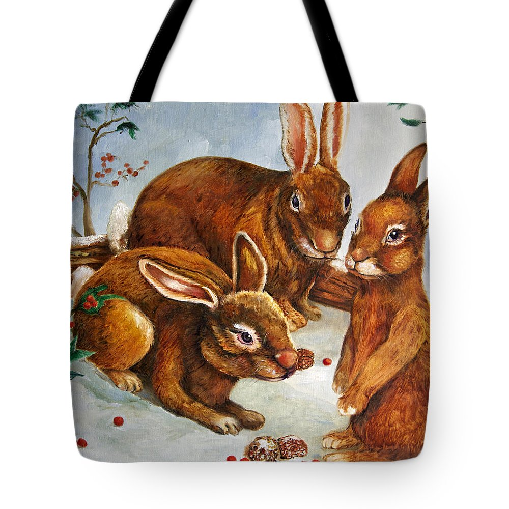Wildlife Tote Bag featuring the painting Rabbits In Snow by Portraits By NC