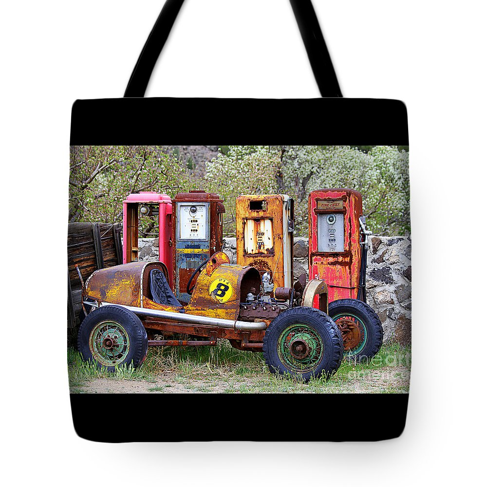 Race Car Tote Bag featuring the photograph Race Car Final Pit Stop by Catherine Sherman
