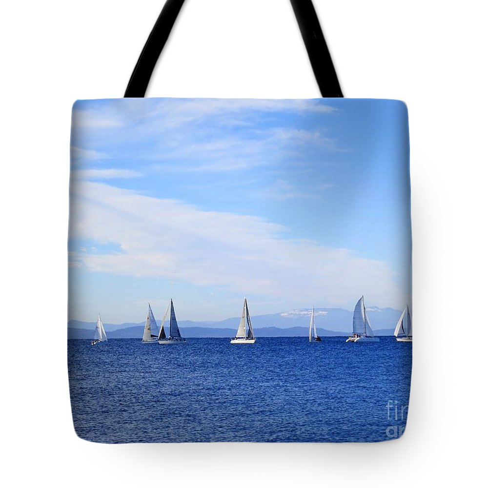 Race Tote Bag featuring the photograph Race In Point Roberts by Lena Photo Art