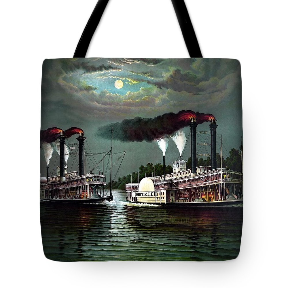 Tote Bag featuring the painting Race Of The Steamers Robert E Lee And Natchez by War Is Hell Store