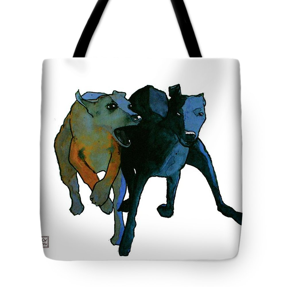 Dogs Tote Bag featuring the painting Race by Richard Williamson