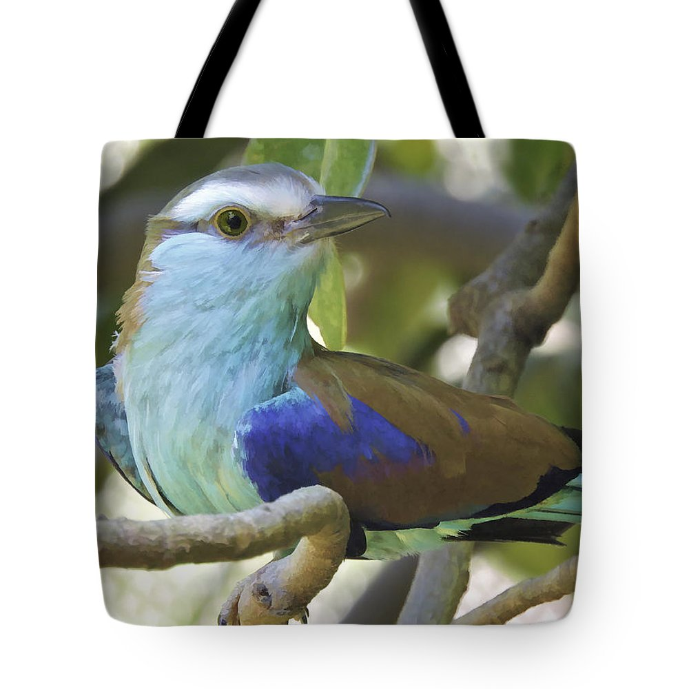 Pennysprints Tote Bag featuring the photograph Racket Tailed Roller by Penny Lisowski