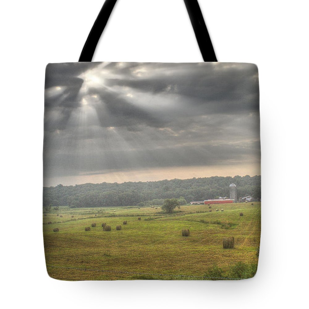 Radiant Tote Bag featuring the photograph Radiant Light Over The Farm by Douglas Barnett