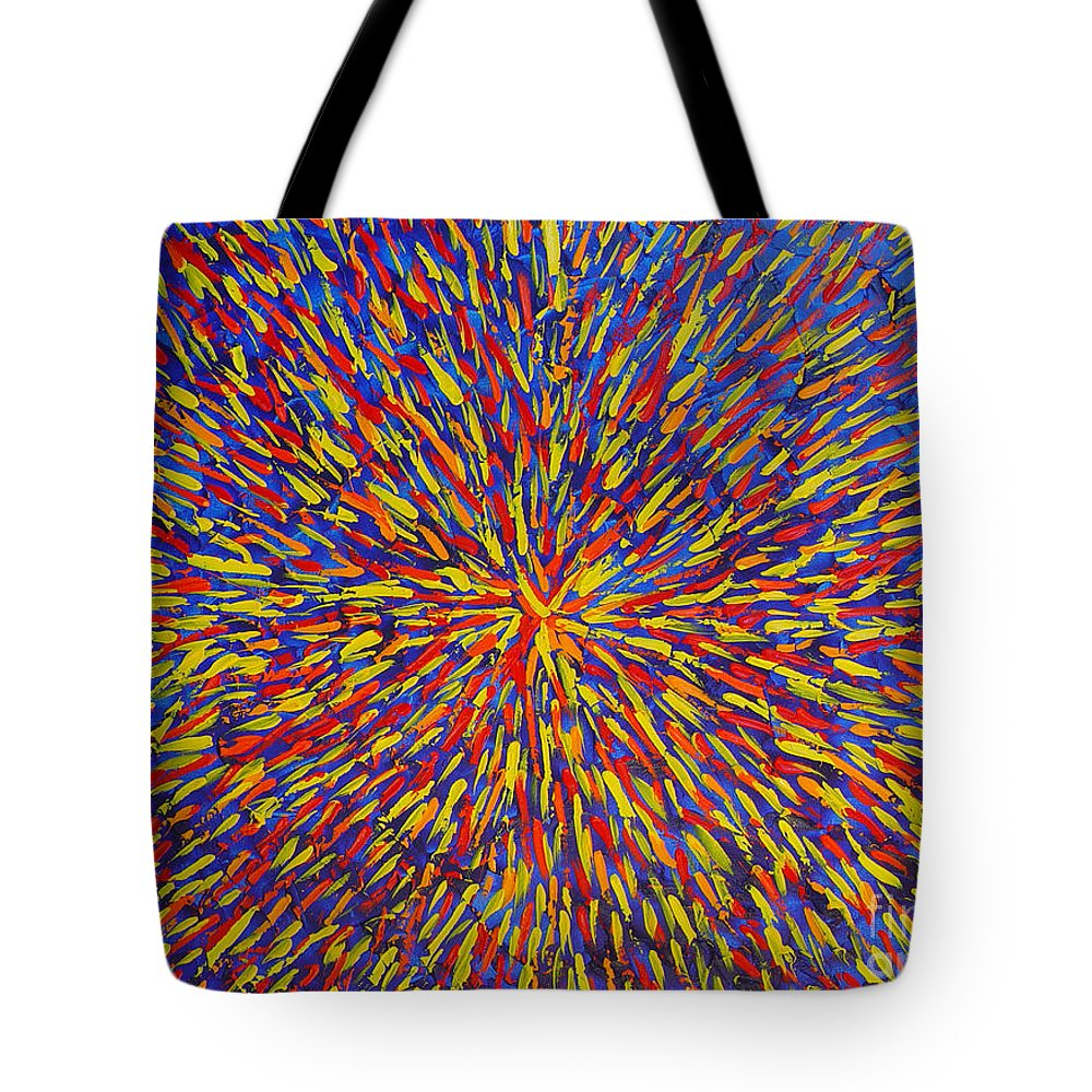 Abstract Tote Bag featuring the painting Radiation Blue by Dean Triolo