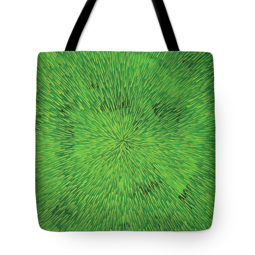 Abstract Tote Bag featuring the painting Radiation Green by Dean Triolo