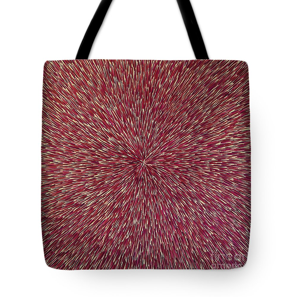 Abstract Tote Bag featuring the painting Radiation With Brown Magenta And Violet by Dean Triolo