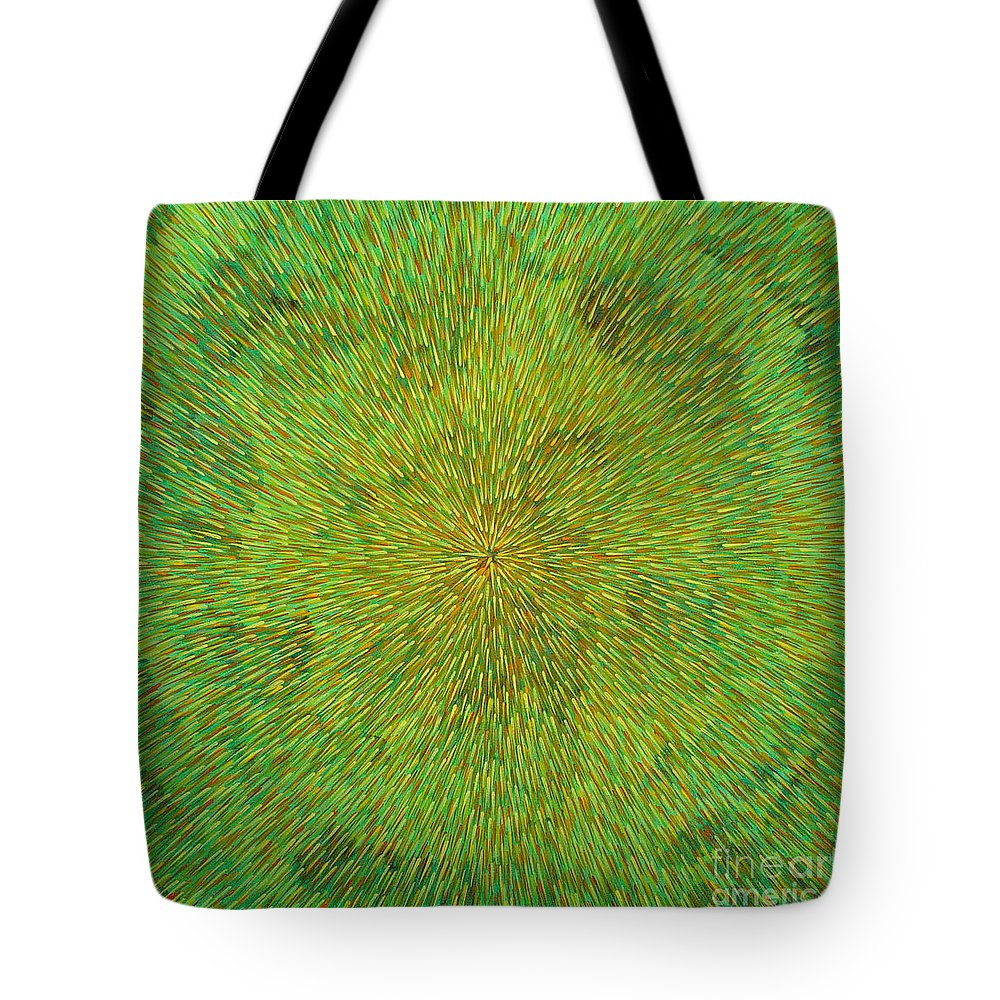 Abstract Tote Bag featuring the painting Radiation With Green Yellow And Orange by Dean Triolo