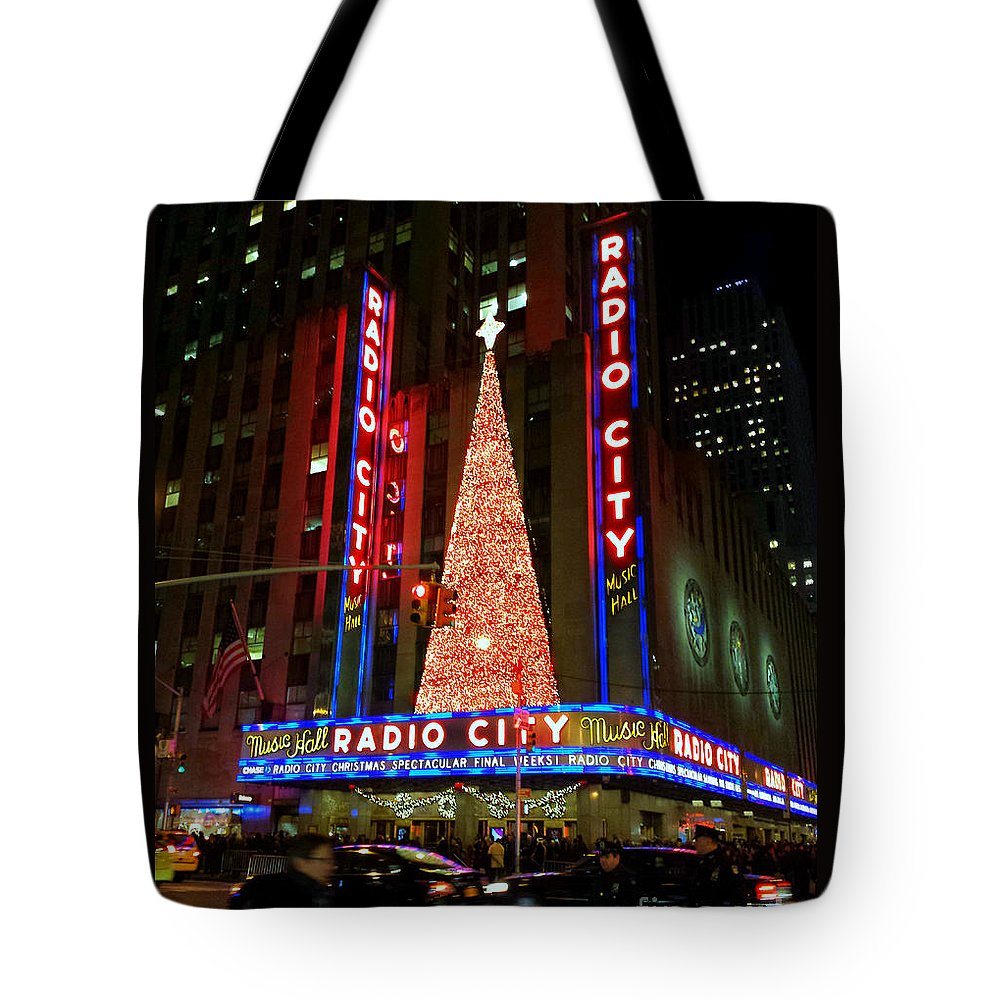 Radio City Tote Bag featuring the photograph Radio City At Christmas Time - Holiday And Christmas Card by Miriam Danar