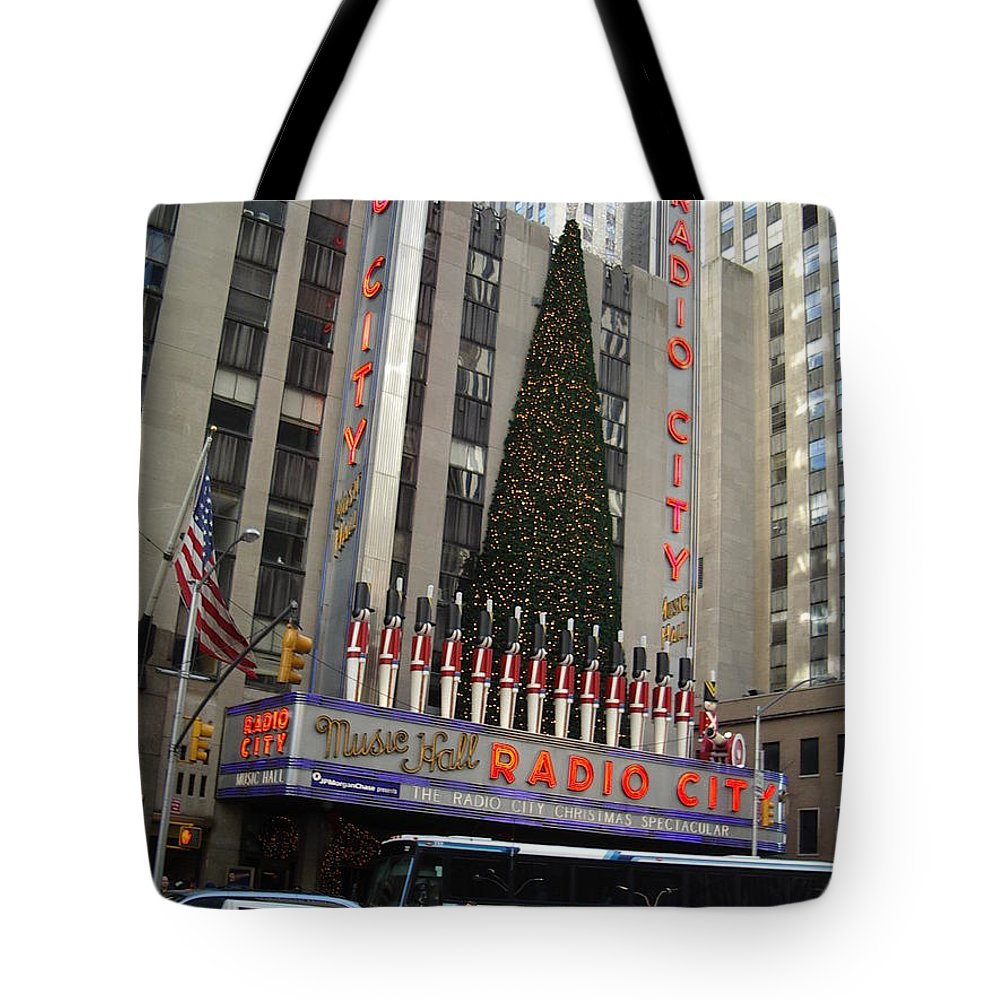 Holidays Tote Bag featuring the photograph Radio City Music Hall 2003 by John Schneider
