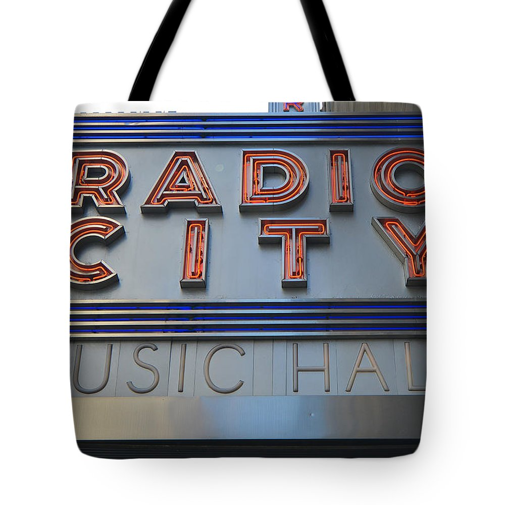 Radio Tote Bag featuring the photograph Radio City Music Hall by Patrick Warneka