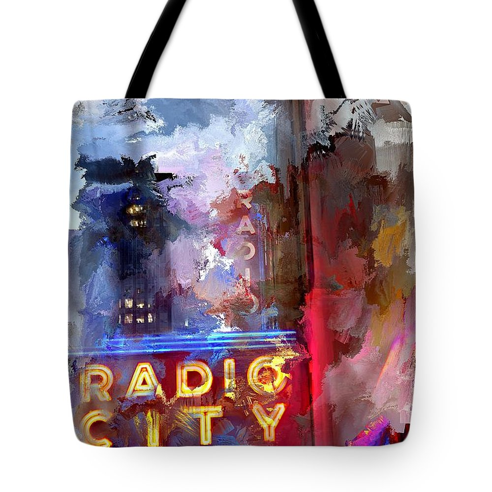 Evie Tote Bag featuring the photograph Radio City New York by Evie Carrier