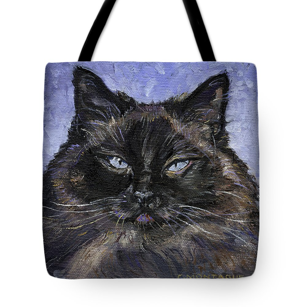 Cat Tote Bag featuring the painting Ragdoll Cat Portrait Little Portrait Painting Series by Christine Montague