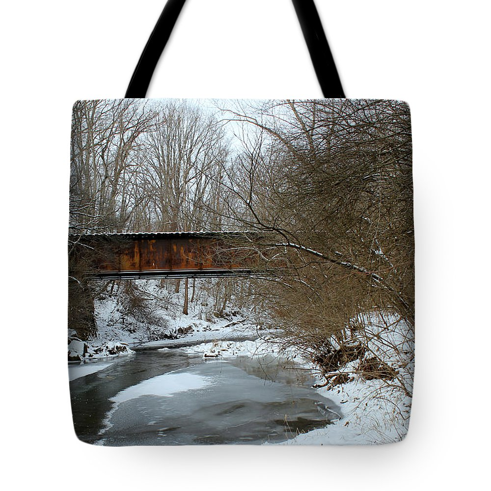 Railroad Tote Bag featuring the photograph Railroad Bridge In Winter by Harold Hopkins
