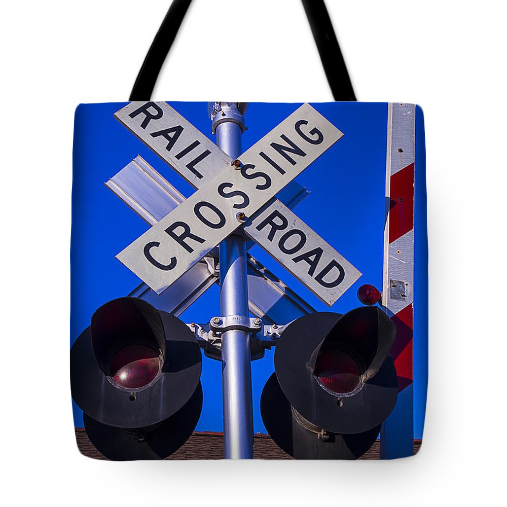 Railroad Tote Bag featuring the photograph Railroad Crossing by Garry Gay