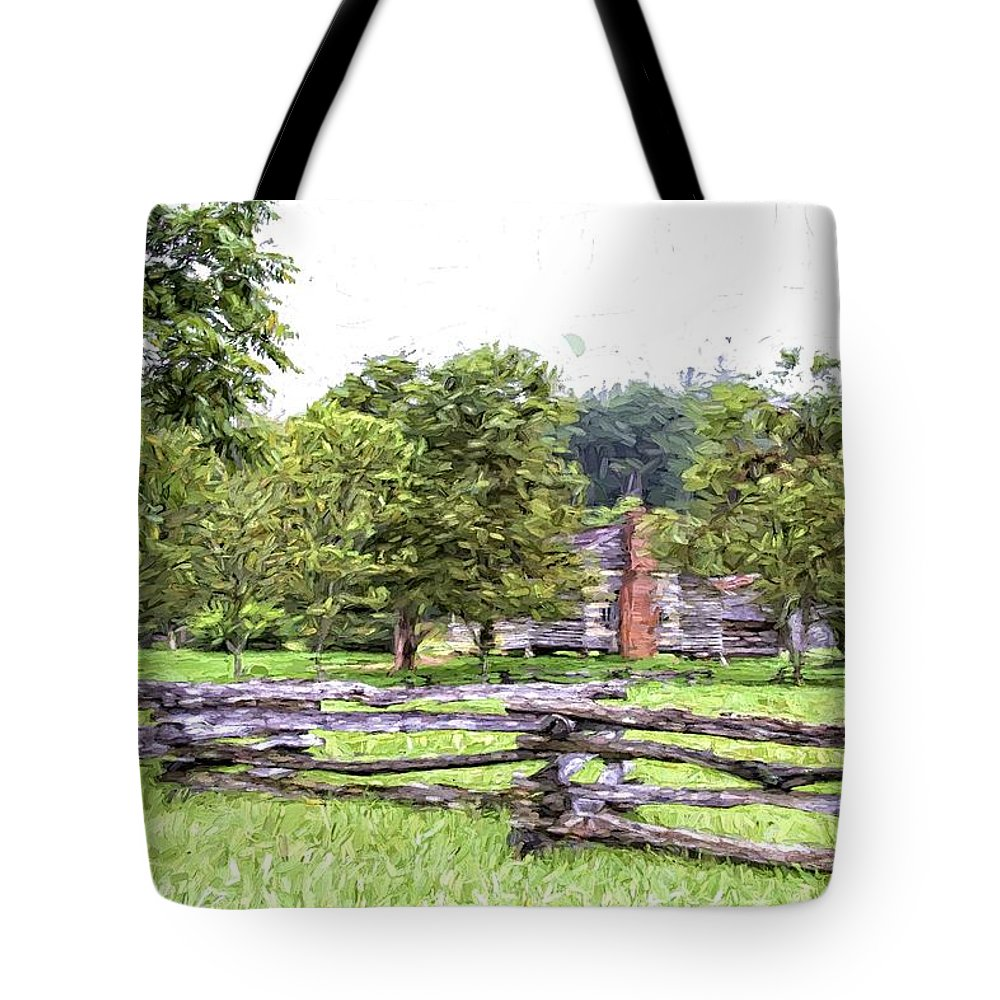 Cades Cove Tote Bag featuring the photograph Rails by Alice Gipson