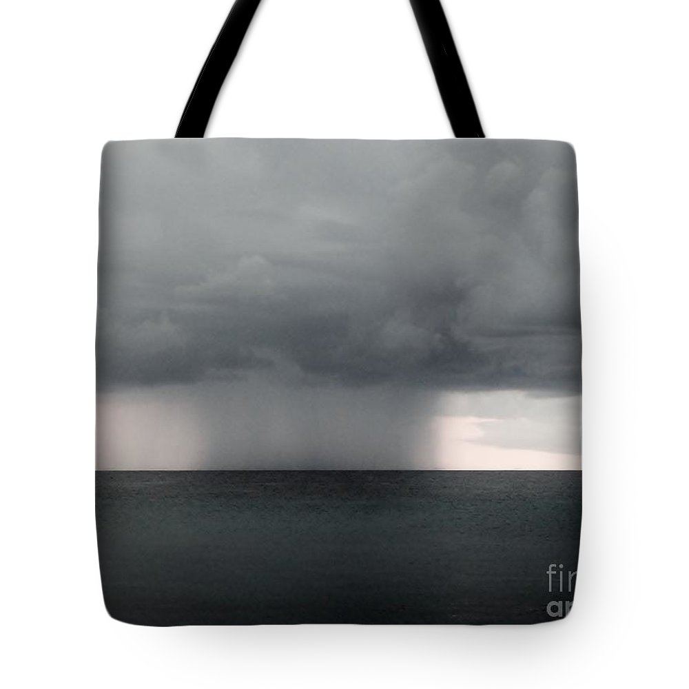 Color Tote Bag featuring the photograph Rain At Sea by Amar Sheow