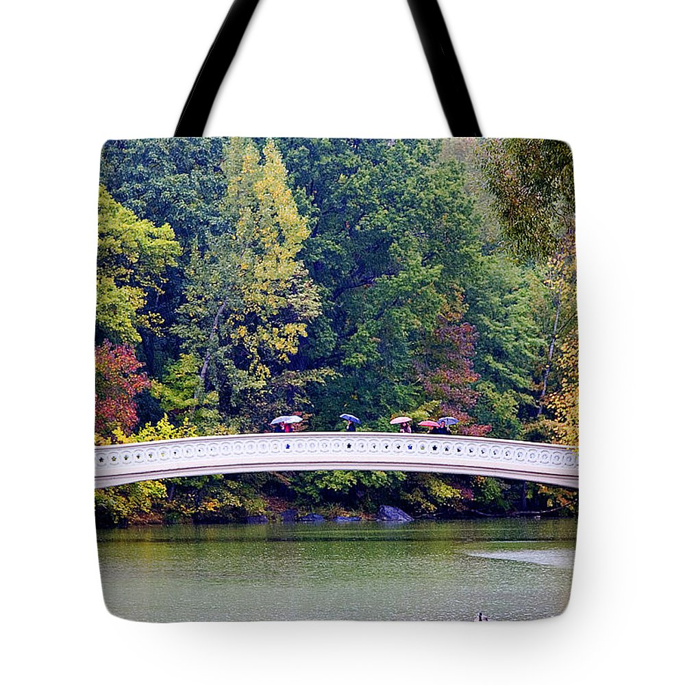 Water Tote Bag featuring the photograph Rain on Bow Bridge by Andre Aleksis