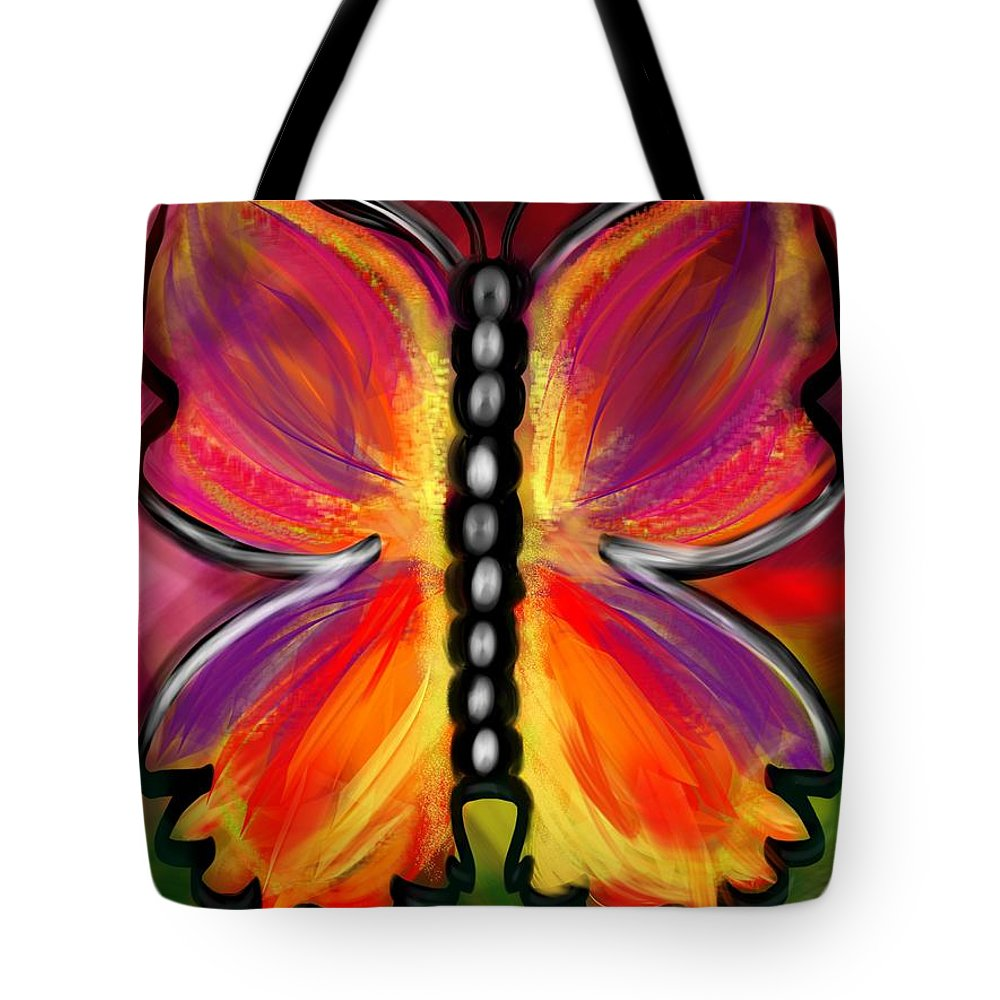 Butterfly Tote Bag featuring the digital art Rainbow Butterfly by Christine Fournier