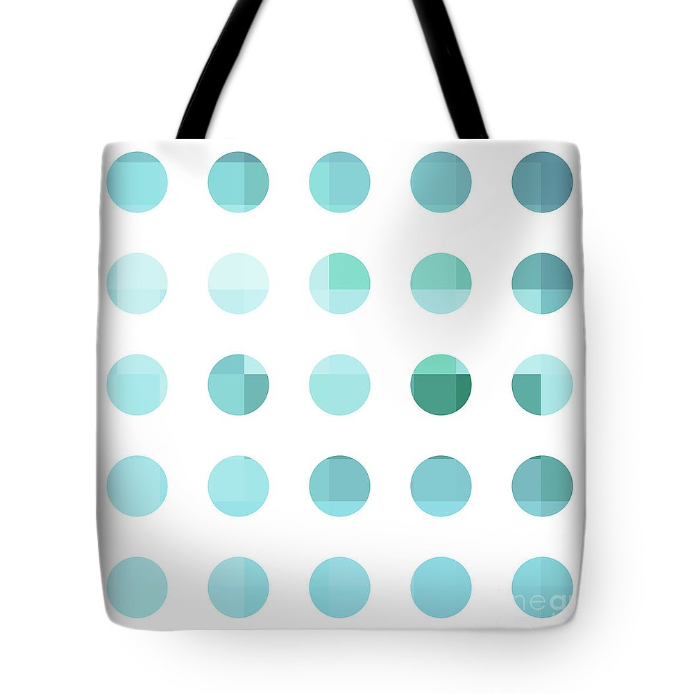 Abstract Tote Bag featuring the painting Rainbow Dots Aqua by Pixel Chimp