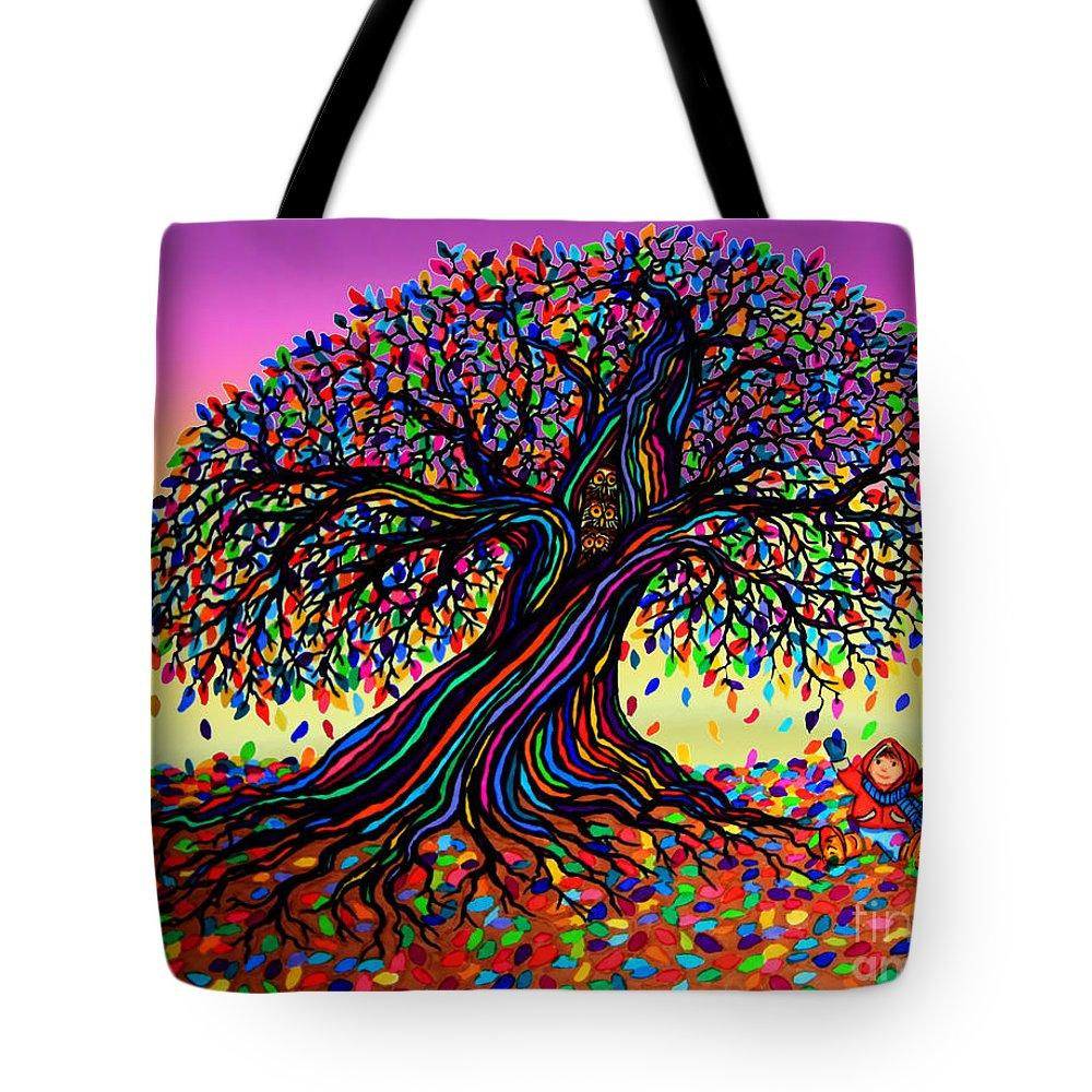 Rainbow Tote Bag featuring the mixed media Rainbow Dreams And Falling Leaves by Nick Gustafson