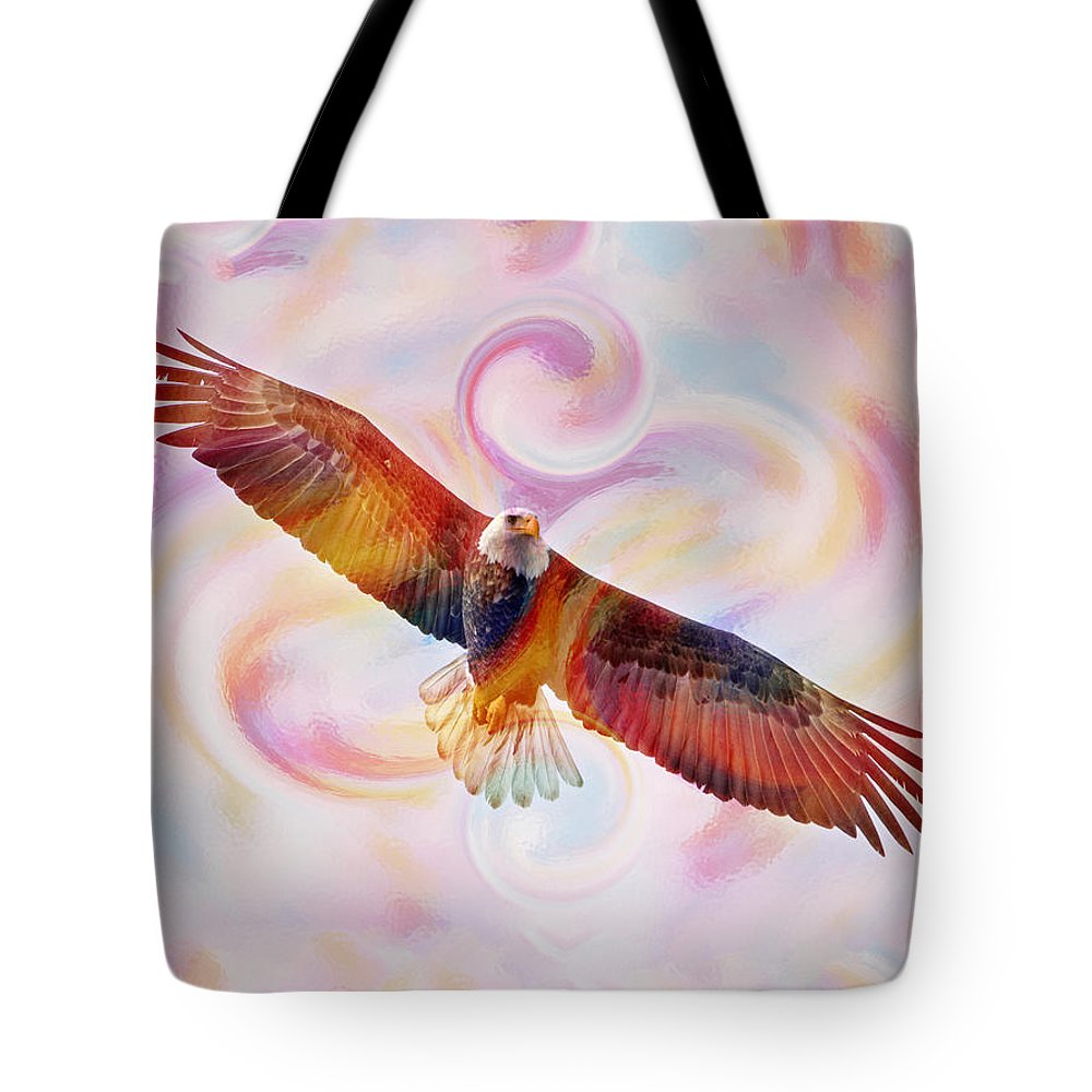 Bald Eagle Tote Bag featuring the painting Rainbow Flying Eagle Watercolor Painting by Georgeta Blanaru