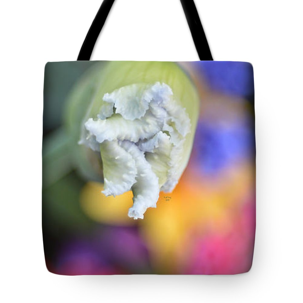 Flower Tote Bag featuring the mixed media Rainbow Iris by Trish Tritz