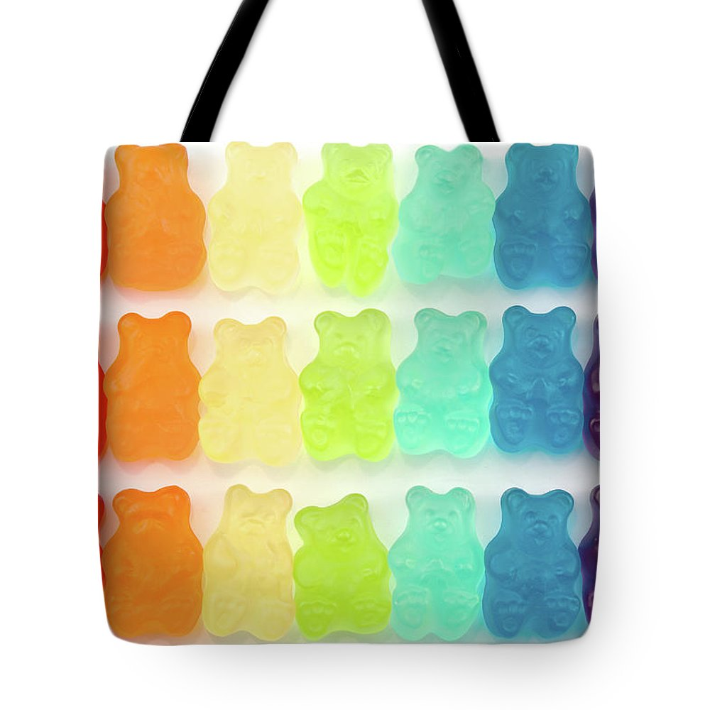 Order Tote Bag featuring the photograph Rainbow Jelly Bear Candy by Melissa Ross