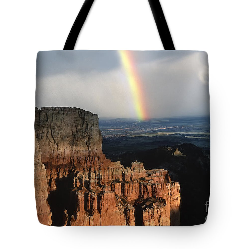Southwest Tote Bag featuring the photograph Rainbow Over Bryce Canyon by Sandra Bronstein