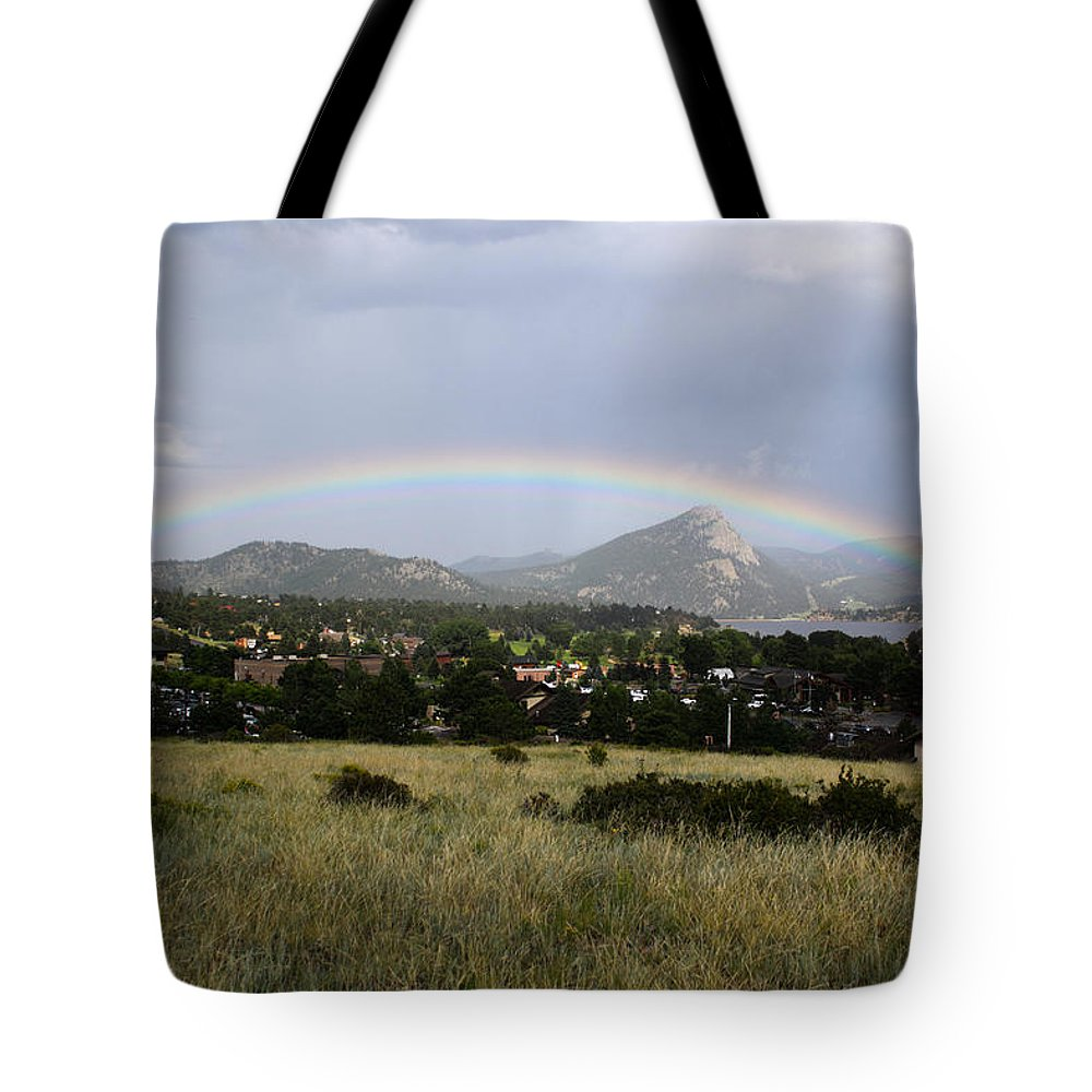 Estes Park Tote Bag featuring the photograph Rainbow Over Lake Estes by Shane Bechler