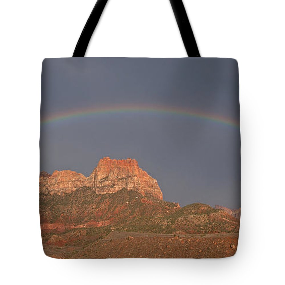 Tote Bag featuring the photograph Rainbow Over Mt Johnson by Susan Rovira