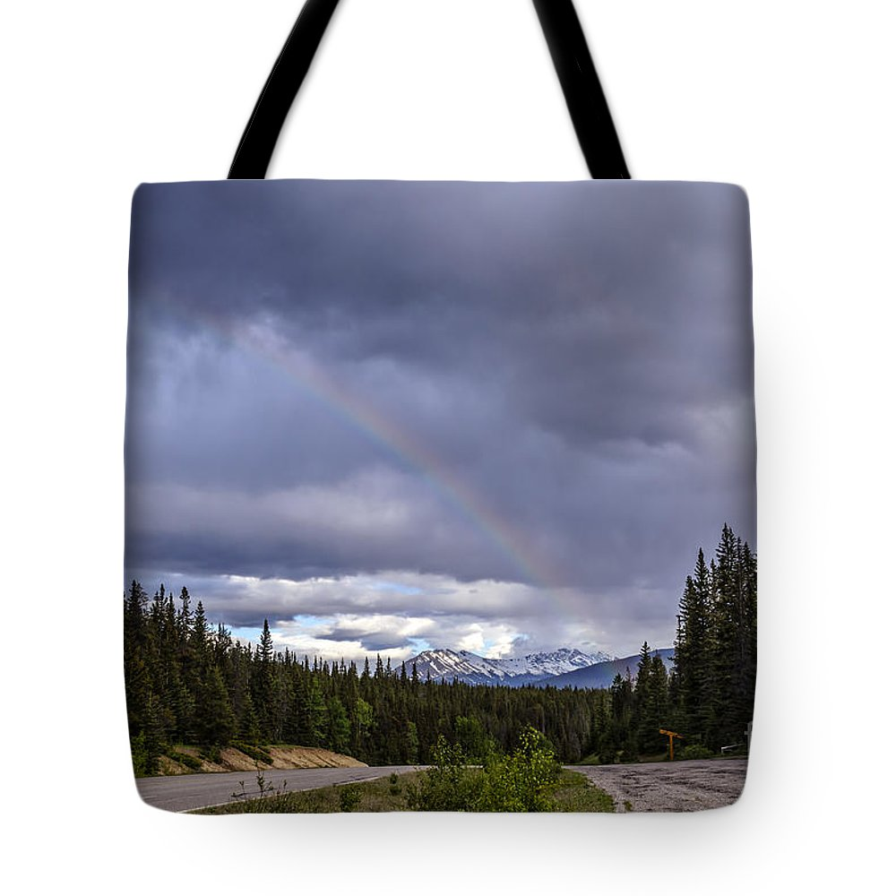 Alberta Tote Bag featuring the photograph Rainbow Over The Mountains by Viktor Birkus