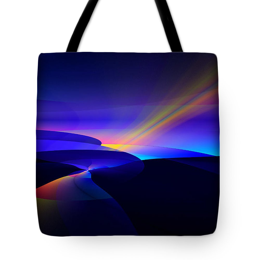 Digital Tote Bag featuring the digital art Rainbow Pathway by GJ Blackman