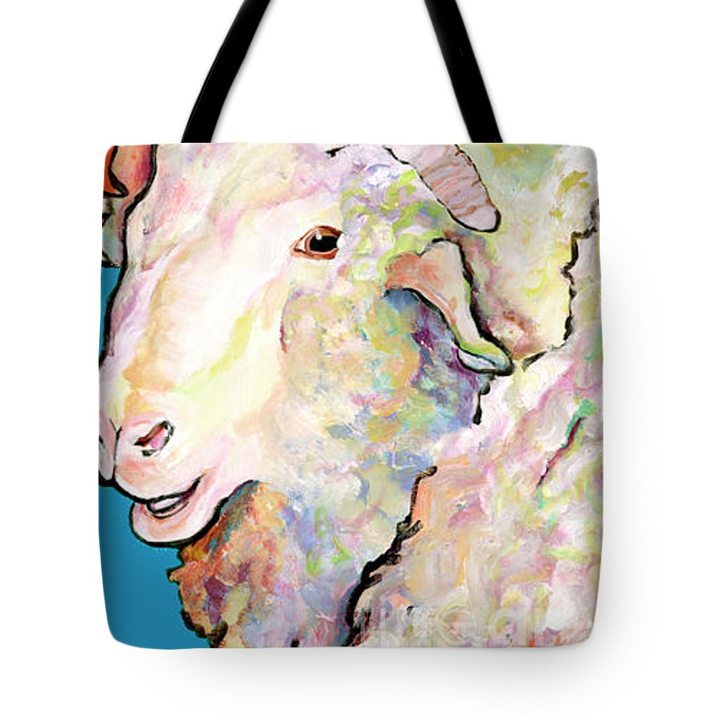 Pat Saunders-white Tote Bag featuring the painting Rainbow Ram by Pat Saunders-White