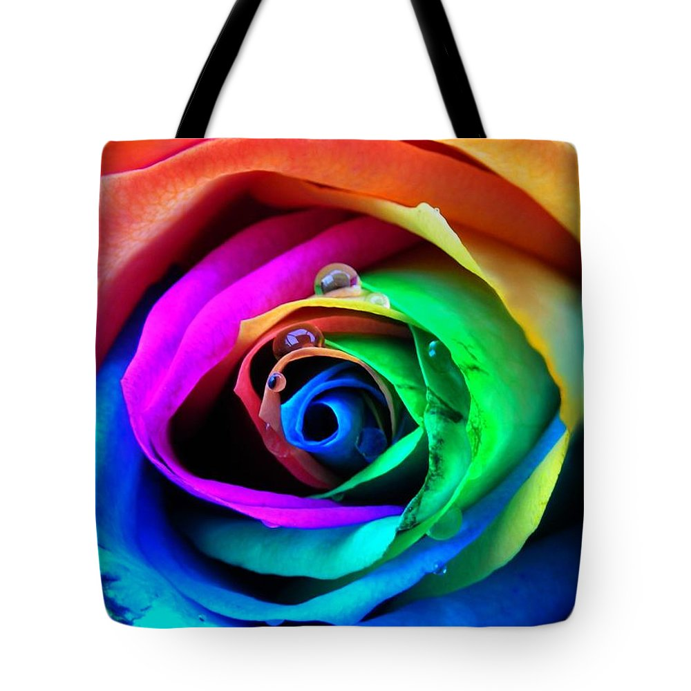 Rainbow Tote Bag featuring the photograph Rainbow Rose by Juergen Weiss