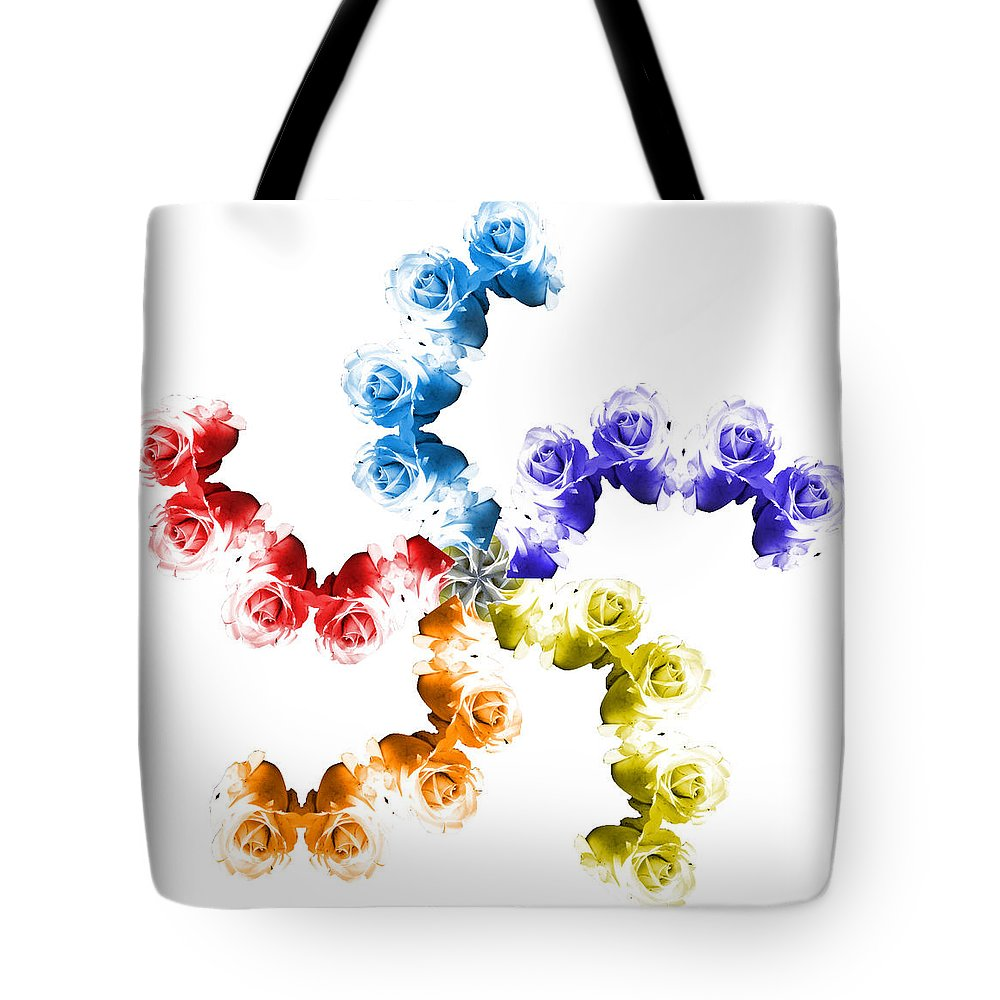 Colorful Tote Bag featuring the photograph Rainbow Roses In White by Kristie Bonnewell