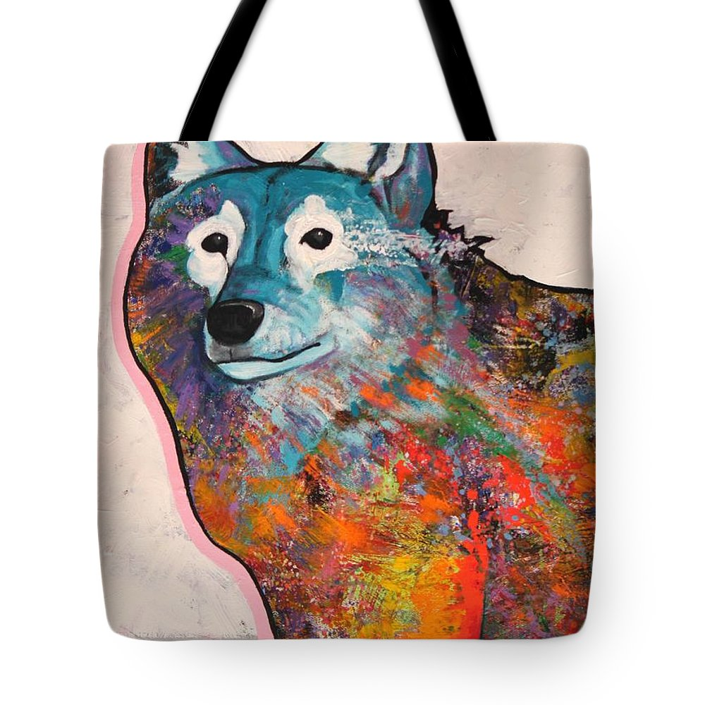 Animal Tote Bag featuring the painting Rainbow Warrior - Alfa Wolf by Joe Triano