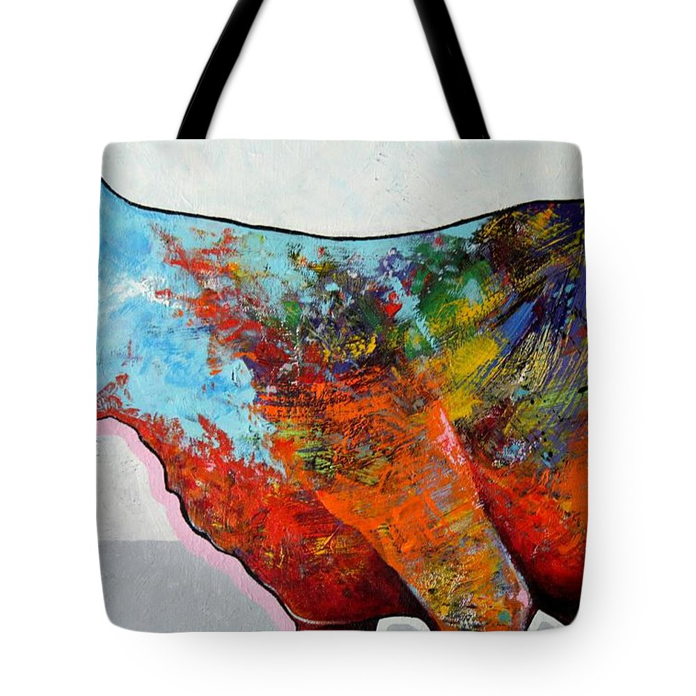 Animal Tote Bag featuring the painting Rainbow Warrior - Coyote by Joe Triano