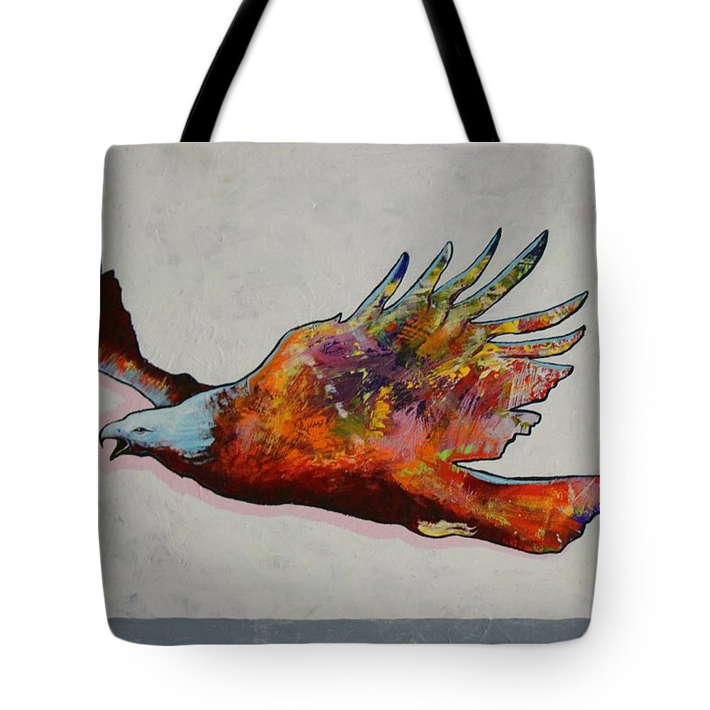 Wildlife Tote Bag featuring the painting Rainbow Warrior Flying Eagle by Joe Triano
