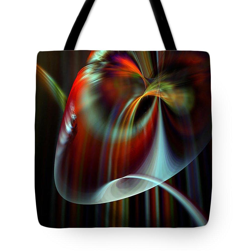Peter R Nicholls Abstract Fine Artist Canada Tote Bag featuring the digital art Rainbow Waterfall by Peter R Nicholls