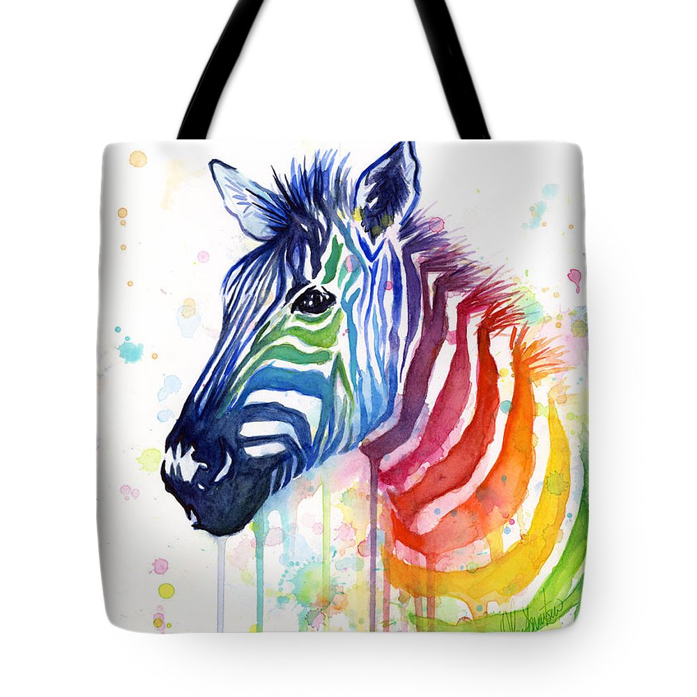 Rainbow Tote Bag featuring the painting Rainbow Zebra - Ode to Fruit Stripes by Olga Shvartsur