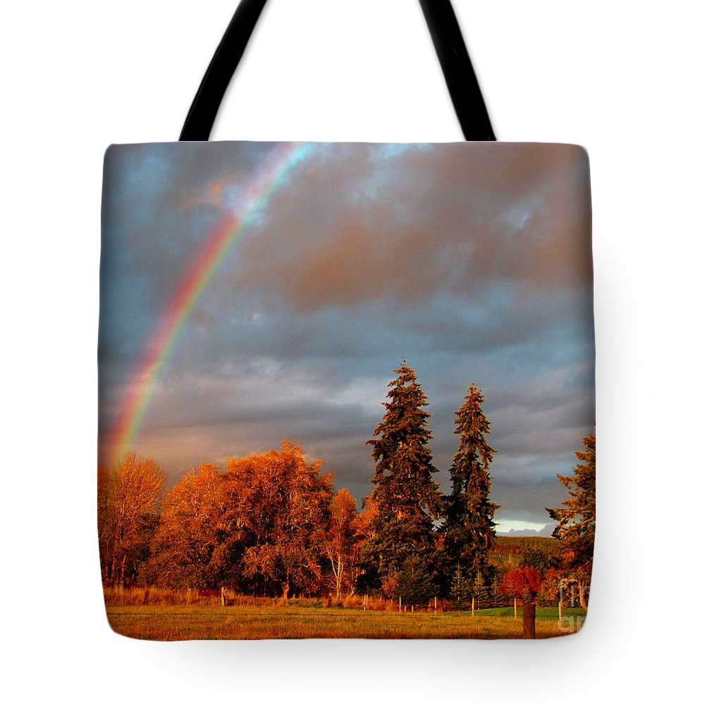 Nature Tote Bag featuring the photograph Rainbow's End At Rainbow Falls by Ron Tackett