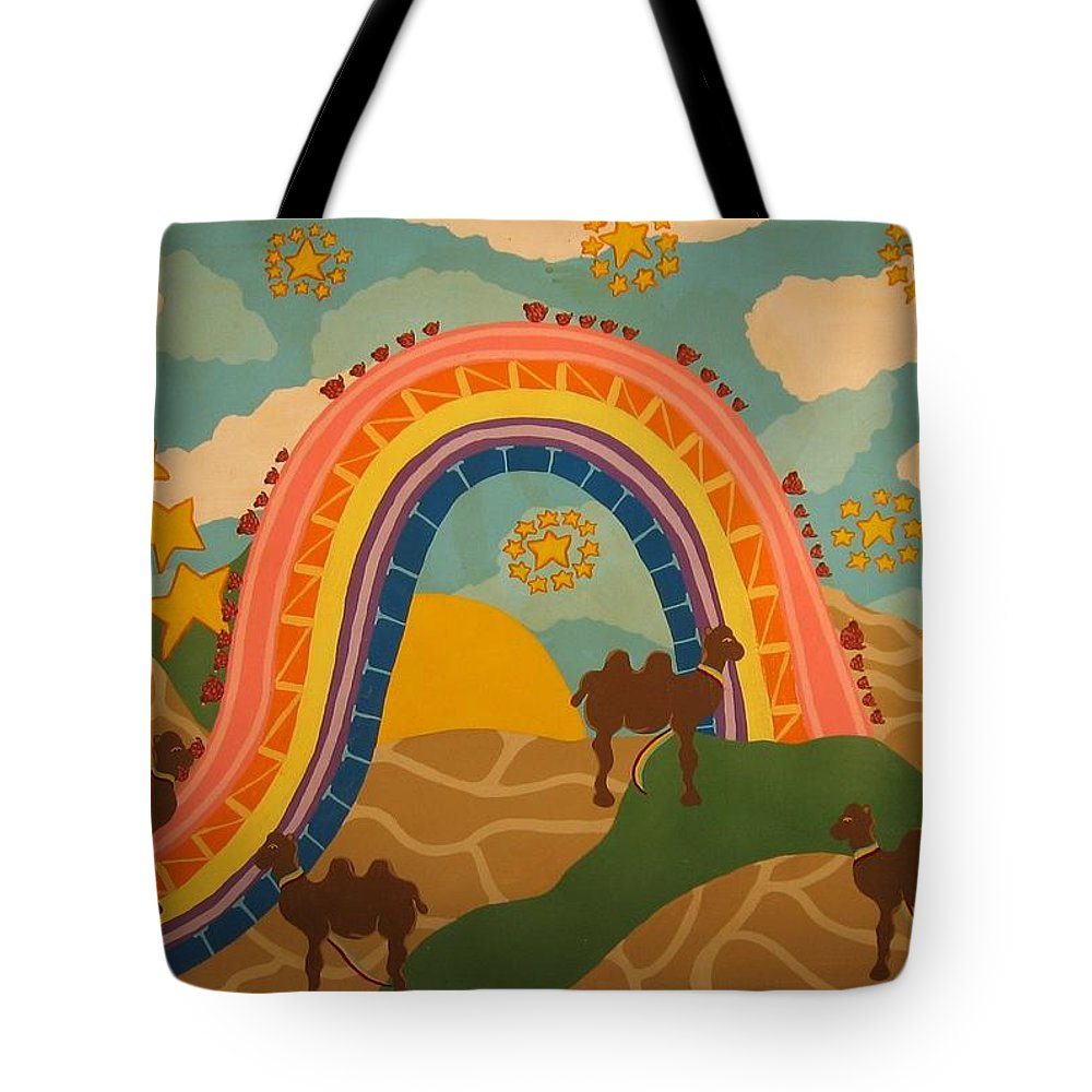 Camels Tote Bag featuring the painting Rainbows Never End by Erika Chamberlin