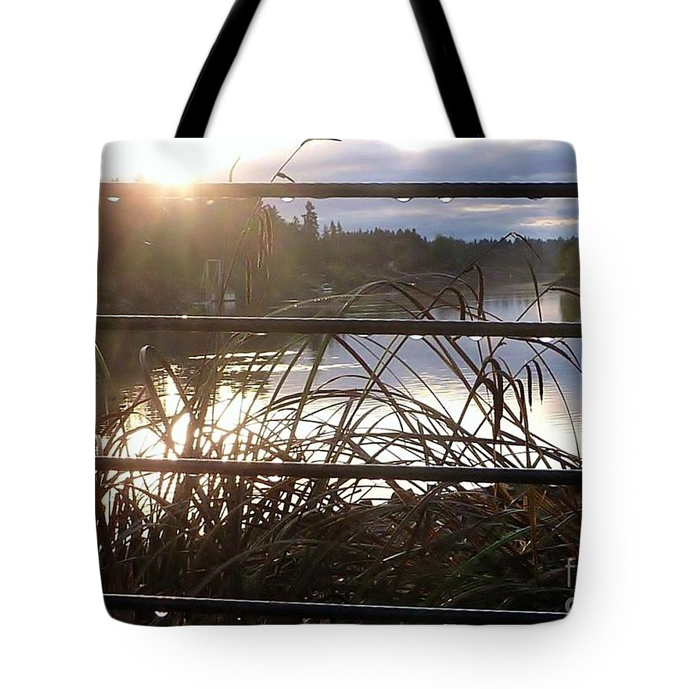 Rain Drops To River Landscape Tote Bag featuring the photograph Raindrops To River Sunrise by Susan Garren