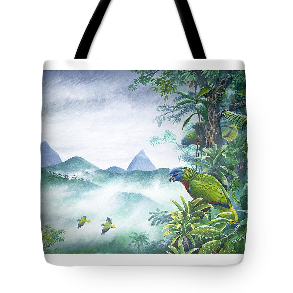 Chris Cox Tote Bag featuring the painting Rainforest Realm - St. Lucia Parrots by Christopher Cox
